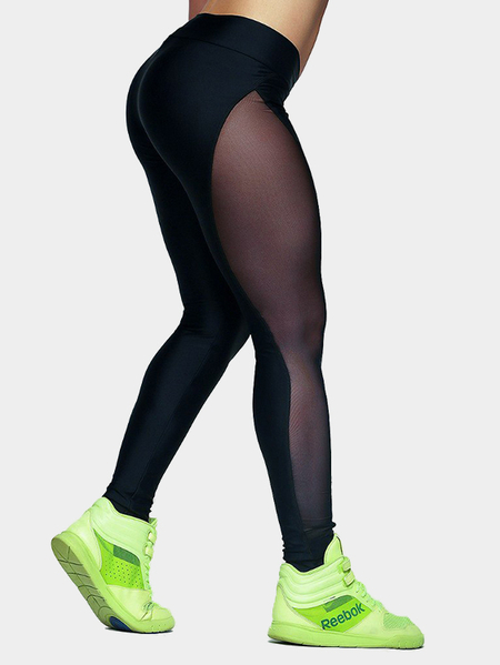 Ver a través de Bodycon Sport Leggigns en negro