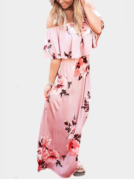 Random Floral Print Off The Shoulder Maxi Dress