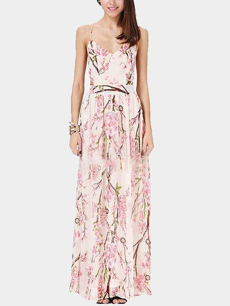 Bohemia Plunge Thin Shoulder Straps Cross Back Maxi Dress