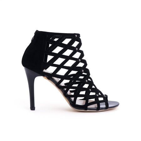Sexy Peep Toe Hollow Design Sandals in Black