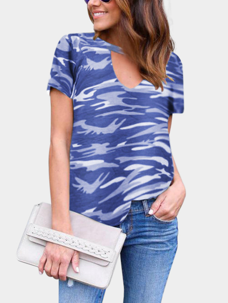 Royal Cut Out Camouflage Round Neck Short Sleeves T-shirt