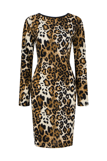 Leopard Print Open Back Stretchy Midi Dress