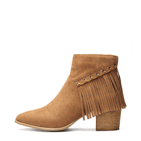 Brown Suede Chunky Heels Tassel Design Ankle Boots