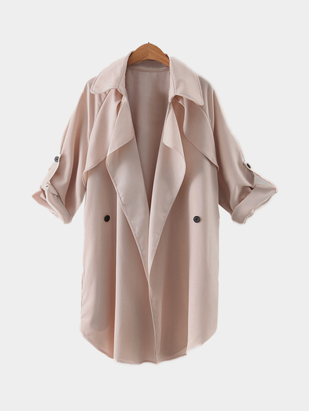 Lapel Collar Trench Coat With Double-breasted