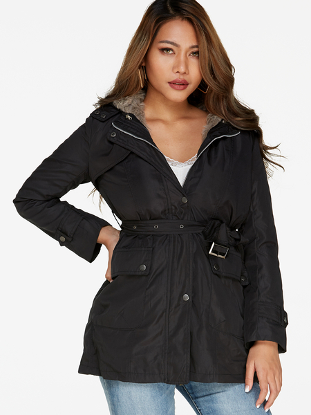 Black Fur Lapel Collar Drawstring Waist Hooded Trench Coat With Patch Pockets