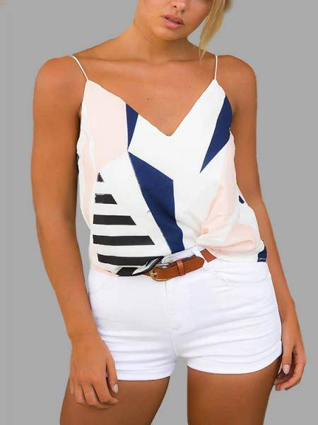V-neck Random Geometrical Cami Top in White