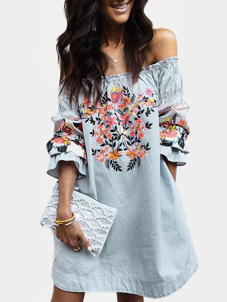Blue Random Floral Print Off The Shoulder 3/4 Length Sleeves Dress