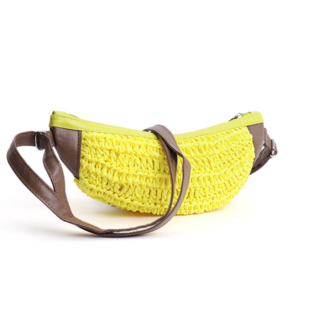 Yellow Banana Design Straw Mini Crossbody Bags