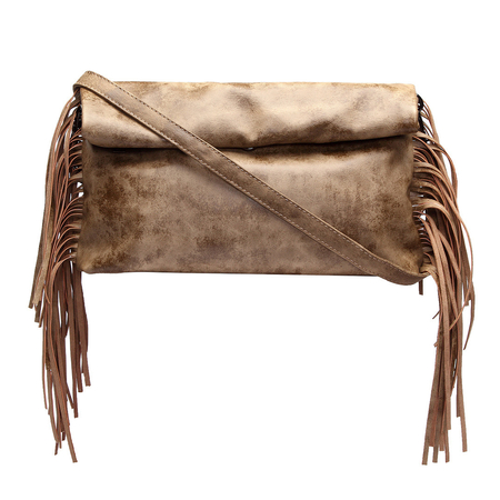Khaki Fashion Clutch Bag with Tassel Embellished