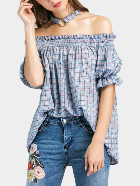 Light Blue Grid Top With Off Shoulder & Choker
