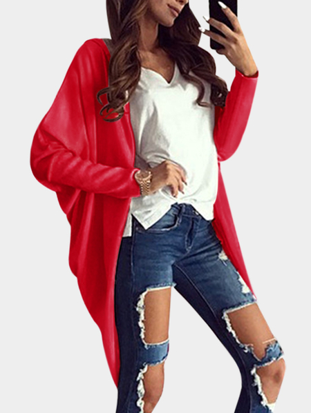Red Hooded Design Long Sleeves Cardigans