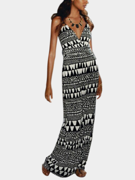 Fashion V-neck Maxi Dress In Geometrical Pattern
