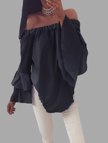 Chiffon Off-The-Shoulder Top in Black