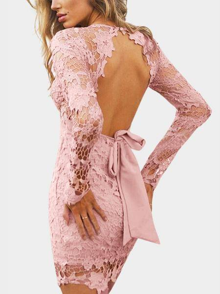 Pink Sexy V-neck Hollow Design Robe en dentelle sans coiffeuse
