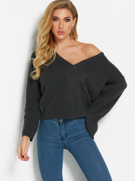 Dark Grey Deep V Neck One Shoulder Long Sleeves Sweater