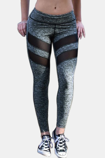 Active Net Yarn Stitching Quick Drying Elastic Sports Leggings in Grey