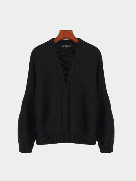 Black Cross Front Hollow Out High Neck Jumper