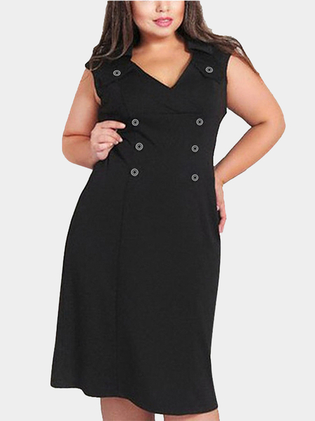 Plus Size Double Breasted Verschönertes Kleid