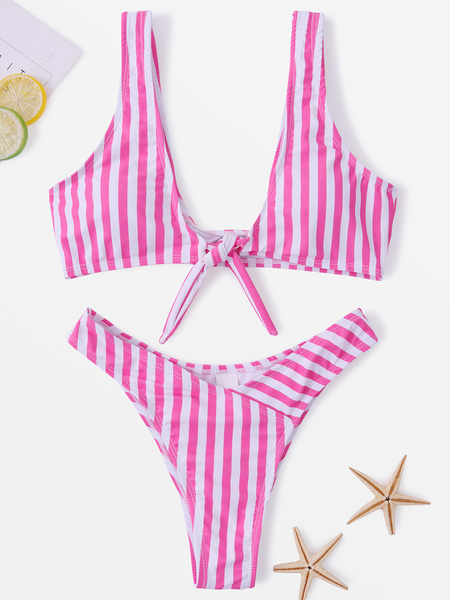 Stripe Tie-up Scoop Neck Bikini Set in Pink