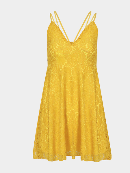Yellow Plunge Lace Pleated Strappy Cami Dress with Lining