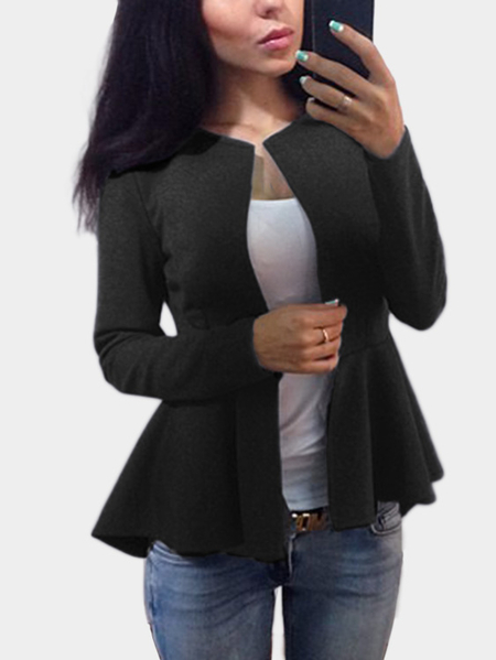 Black Long Sleeves Ruffle Hem Jacket