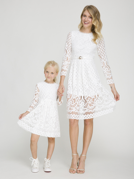 White Mom und ich Hollow Out Delicate Lace Matching Midi Kleid - Me