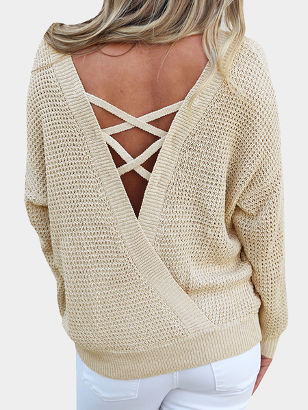Apricot Oversize Criss-cross Back Wrap Jumper