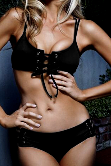 Black Lace-up Design sem mangas Swimwear