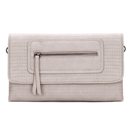 Apricot Leather-look Clutch Bag with Allover Seam Detail