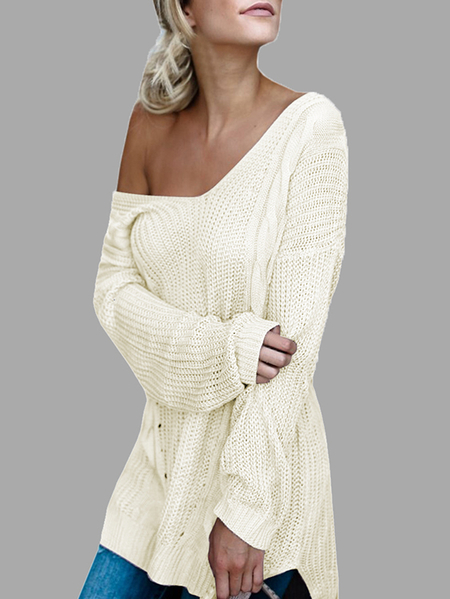White V-neck Cross Backless Splited Hem Sweaters