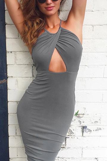Grey Halter Design Hollow Out details Backless Midi Dress