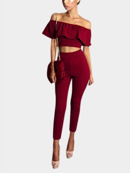 Red Off Shoulder Flounced Design Bare-midriff Co-ords