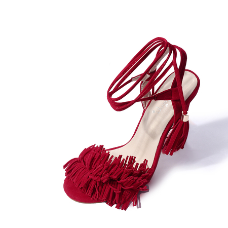 Red Peep Toe Lace-up Design Tassels Sandals