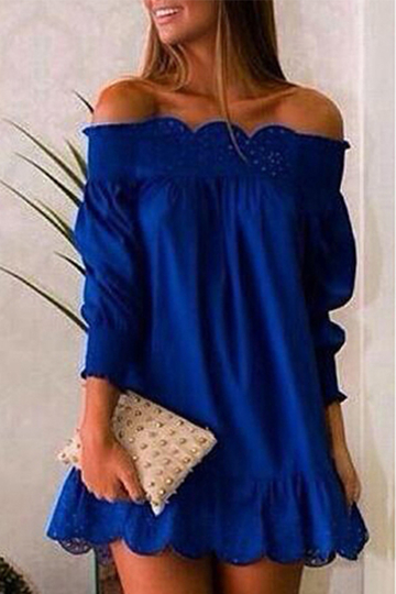 Blue Hollow Design Off The Shoulder Long Sleeves Dress