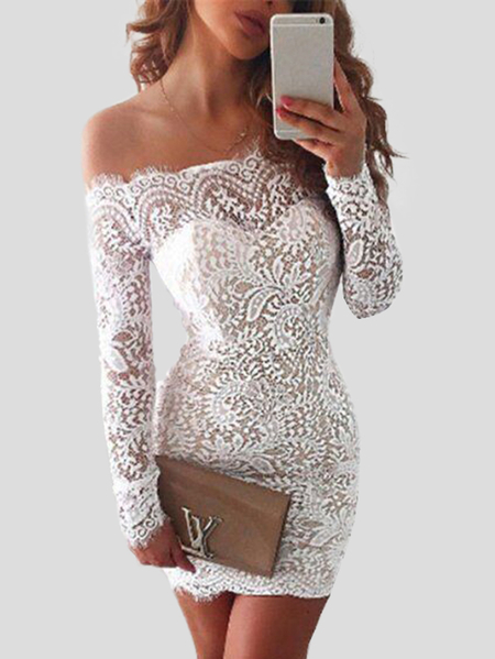 White Lace Details Eyelash Trim Off Shoulder Long Sleeves Sexy Party Dress
