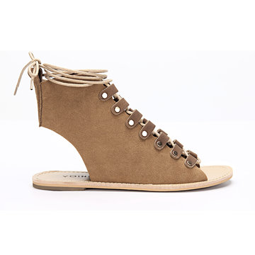 Brown Lace-up Stud Embellishment Open Back Gladiator Sandals