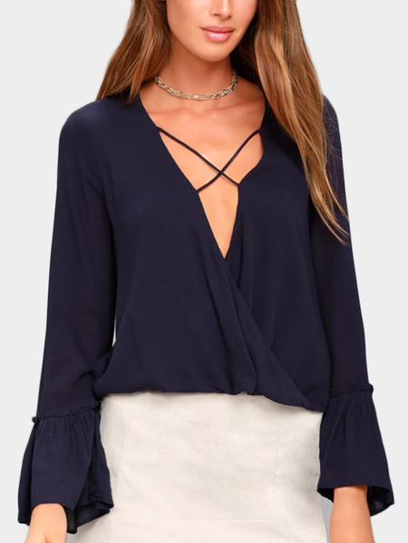 Navy Crossed Front Design V-neck Flared Sleeves Blouse