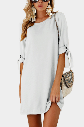 White Self-tie at Sleeves Mini Dress