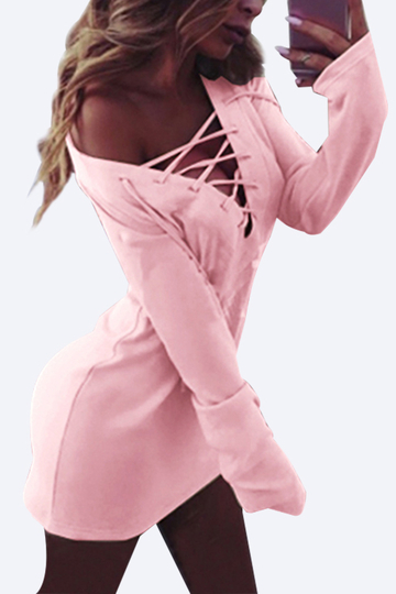 Pink Casual V Neck Lace-up Front Long Sleeves Mini Dress
