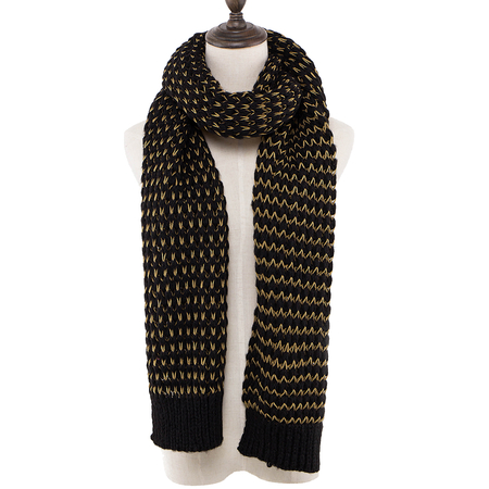 Black Wrap Scarf In Cable Knit