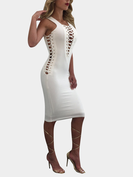 White Sleeveless Lace-up Design Bodycon Dress