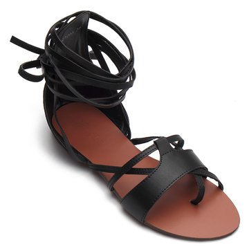 Black Leather Look Lace-up Gladiator Sandals