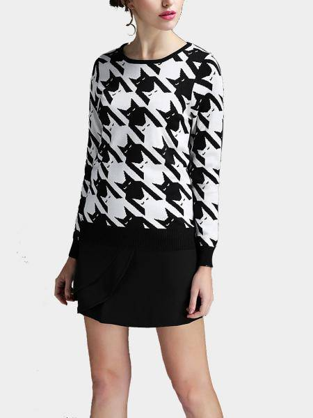 Houndstooth Knitted Jumper and Black Skirt