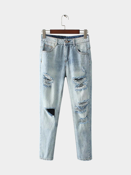 Blue Fashion Rips Detailing Jeans