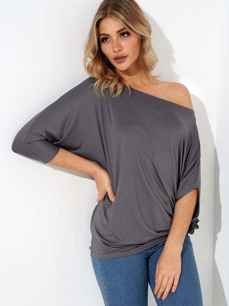 Grey Pleated Design One Shoulder Long Sleeves T-shirt