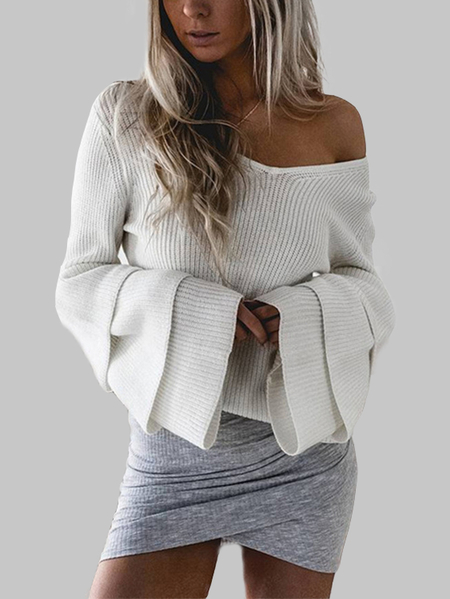 White Knitting V-neck Tiered Bell Sleeves Sweaters