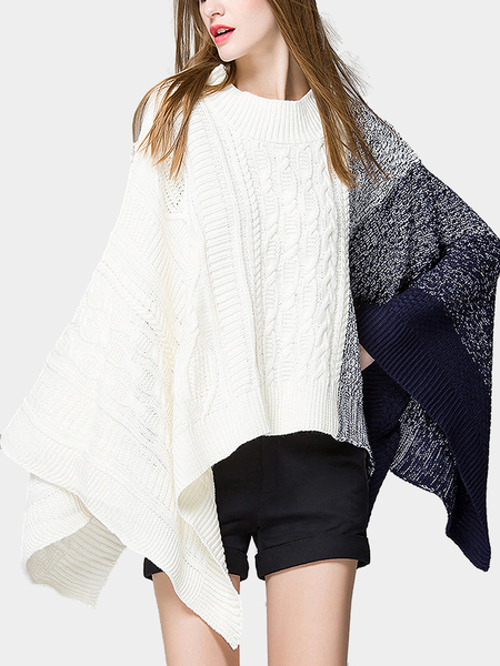 Blue Color Block Poncho in Knit