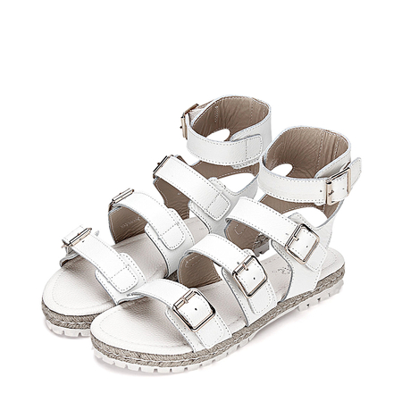 White Pin Buckle Strap Over Open Toe Flat Sandals
