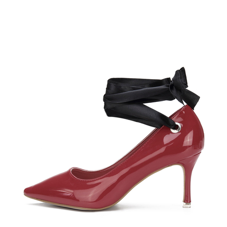 Red Patent Leather Self-tie Pointed Toe Heels
