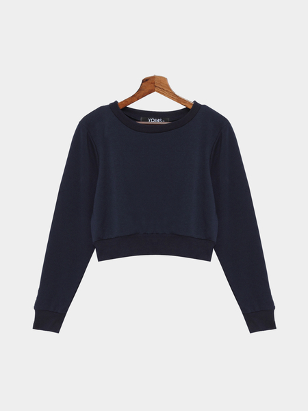 Casual Plain Dark Blue Color Crop Sweatshirt